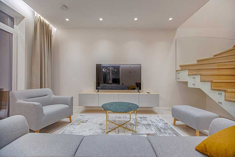interior design with television set in the living room