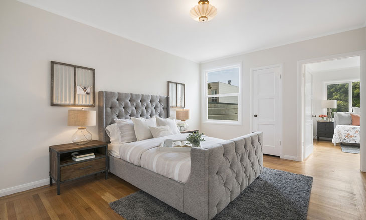 Minimalist bedroom decor in spacious white and grey
