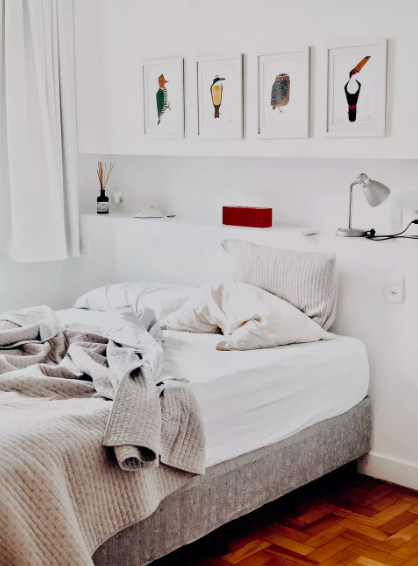 bedroom with a lot of white colors